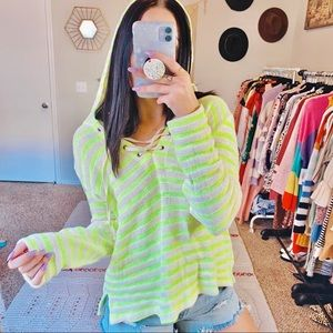 Splendid Ohana Neon Stripe Pullover Hoodie